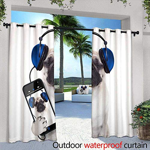 Lightly Outdoor- Free Standing Outdoor Privacy Curtain,Flaxen Silhouette by Aparicio,W96 x L84 for Front Porch Covered Patio Gazebo Dock Beach Home