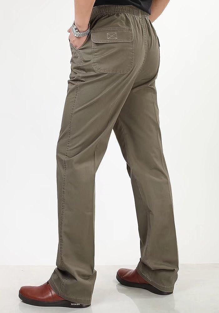 Mens High Waist Loose Elastic Waist Straight Casual Pants