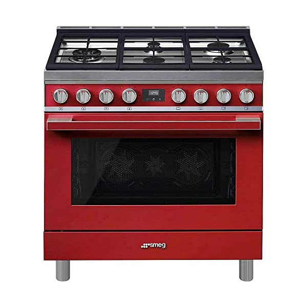 Smeg Portofino CPF36UGMR 36''x 25'', 4.5 cu. ft. Oven Freestanding Pro-Style Dual Fuel Range, Red 1