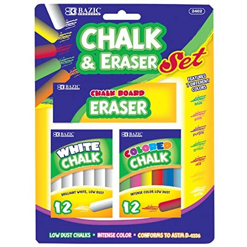 Nice BAZIC 12 Color & 12 White Chalk w/ Eraser Set for School, Crafts, or Outside Play. supplier