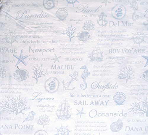 (Envogue Bedding Nautical Collection Casual Comfort 100% Washed Cotton Percale Blue Gray Script, Sea Life, Marine Symbols on White -- Coast to Coast Blue (Full))