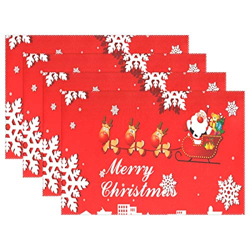(NMCEO Place Mats Animated Christmas Clipart Happy Personalized Table Mats for Kitchen Dinner Table Washable PVC Non-Slip Insulation Set of 6)