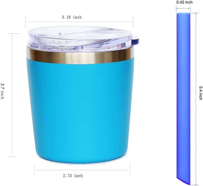 Stackable Toddler Smoothie Cup with Lid and Silicone Straws Set of 2 Blue Mint, 8 OZ Colorful PoPo Cute Small Stainless Steel Mom and Kids Tumbler