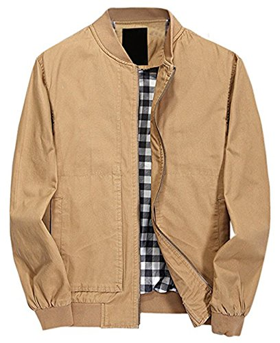 chouyatou Men's Casual Long Sleeve Full Zip Jacket with Shoulder Straps (Medium, 41Khaki) - Khaki Cotton Jacket