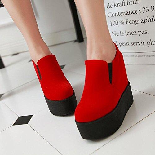 casual alto Autunno Primavera Tacco glassato le Spesso Pompe per Suole Scarpe rosso Platform donne Sfondo 481wq