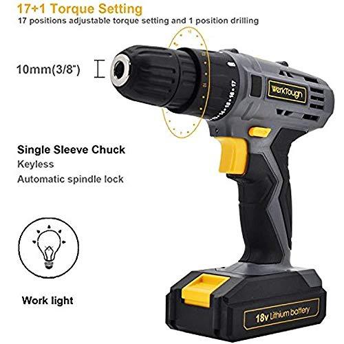 Toolman Cordless Drill Screwdriver 20V 2 speed powerful torque w/drill and Bits works with DeWalt Makita Ryobi by Toolman 47