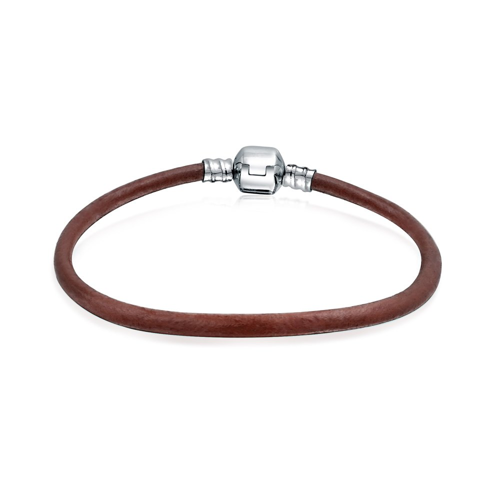 Bling Jewelry Brown Leather Cord Barrel Clasp Bracelet Bead Charms 925 Silver PBX-HC-07-brown-16