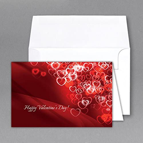 5 X 7 Valentine Cards & Envelopes (Small Scattered Hearts)- Cards When Folded - Pack of 25 Sales