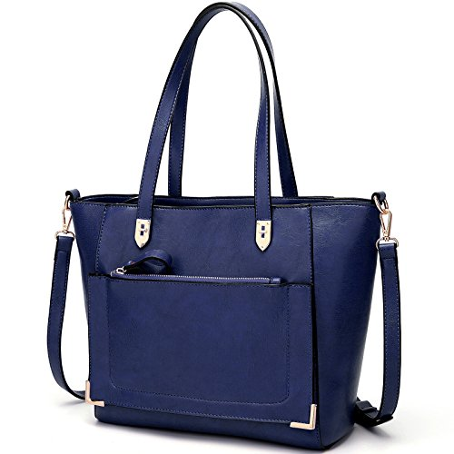 YNIQUE Women Top Handle Handbags Satchel Purse Tote Bag Shoulder Bag, Navy Blue, - Top Purse Tote Zip