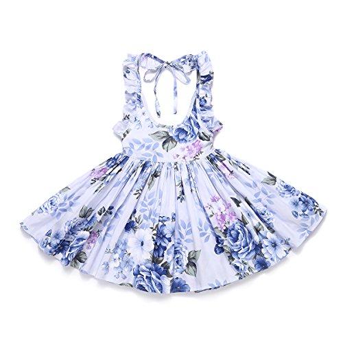 Flofallzique Floral Vintage Toddler Girls Dress Holiday Party Backless Dress for Kids (6, Navy Blue) (Old Blue Navy Dress)