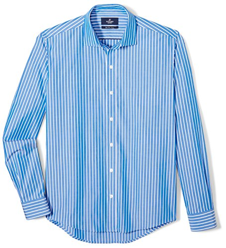 BUTTONED DOWN Men's Slim Fit Supima Cotton Spread-Collar Pattern Dress Casual Shirt, Large Blue Stripe, 16-16.5