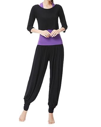 DianShao Mujer 3Pcs Chándal Casual Yoga Conjuntos Camisetas Tops + ...