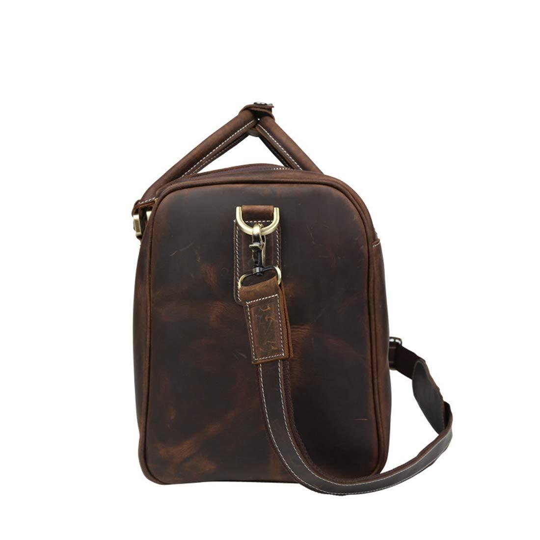 Color : Brown Kajuer Mens Large Capacity Casual Shoulder Bag//Weekend Bag//Business Leather Bag//Travel Handbag