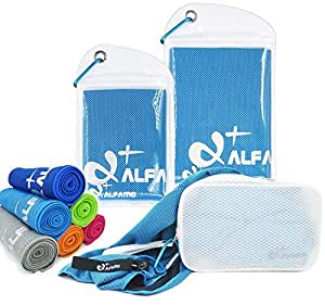 """Aqua Blue Cooling Towel for Instant Relief - 33"""" Long Ultra Soft Breathable Mesh Yoga Towel - Keep Cool for Running Biking Hiking Golf & All Other Sports, Waterproof Bag Packaging with Carabiner"""