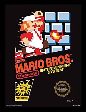 Amazon Com Super Mario Bros Nes Cover 30x40 Cm Framed Print