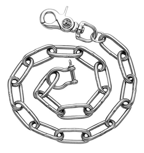 Stainless Steel Anchor Link Wallet Chain with Skull Trigger Snap Clasp and Captive Pin Shackle