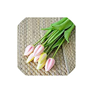 Artificial Tulips 7Pcs/Bunch Silicone Artificial Tulips Flower for Home Wedding Decoration Fake Bridal Hand Flowers,F 20