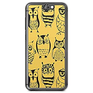 HTC One A9 Transparent Edge Phone Case Owl Phone Case Yellow Owl Pattern A9 Cover with Transparent Frame