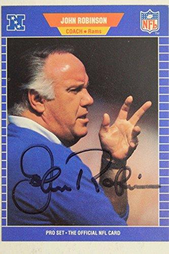 John Robinson LA Rams Head Coach Autograph 1989 NFL Pro Set #210 Signed Card 16J