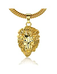 """Halukakah® Men's 18k Real Gold Plated """"LAND RULER"""" 3D Lion Head Pendant Necklace,with FREE Fishtail Chain 30"""""""