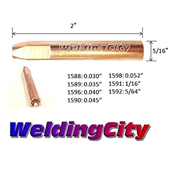 WeldingCity 10-pk MIG Welding Contact Tip 1590 for Elliptical Consumables in Bernard Q and S MIG Guns 0.045