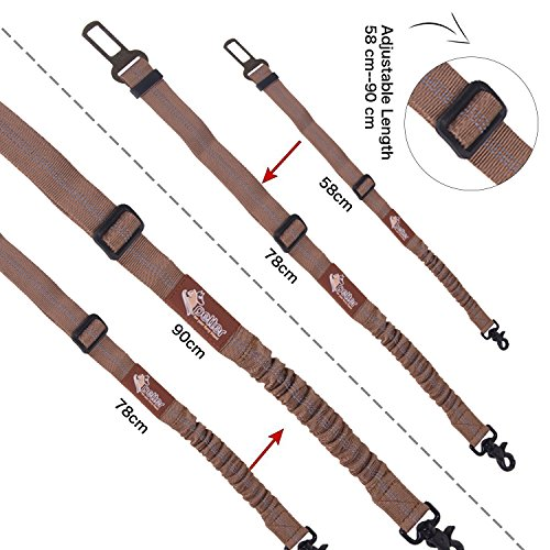 Bungee Pet Dog Car Seat Belt By Petter – Elastic Bungee Safety Shock Absorber With Metal Carabiner – Durable & Adjustable With Clasp-On Clamp – Streches Up To 35 Inches