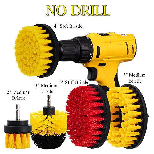 Deck Brush Kit - HIFROM Drill Powered Scrub Brush Attachment Kit 4