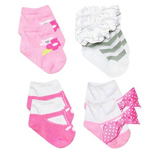 Baby Essentials Newborn Baby Socks Pink Grey Flower Flowers Chevron Polka Dot Bow