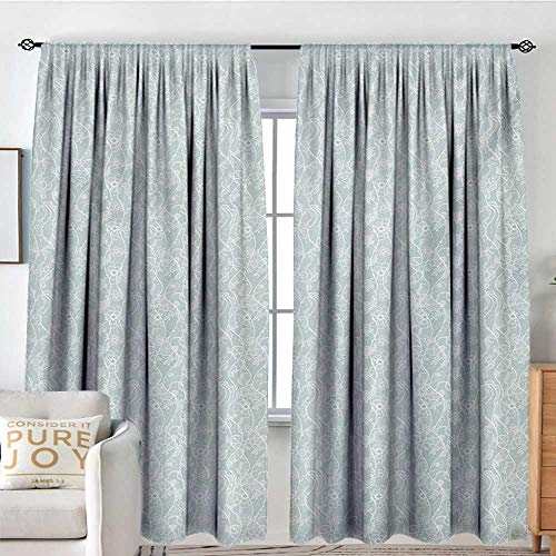 Pattern Curtains Vintage,Lace Pattern Backdrop with Floral Composition Victorian Inspirations Wedding,Seafoam White,All Season Thermal Insulated Solid Room Drapes 54