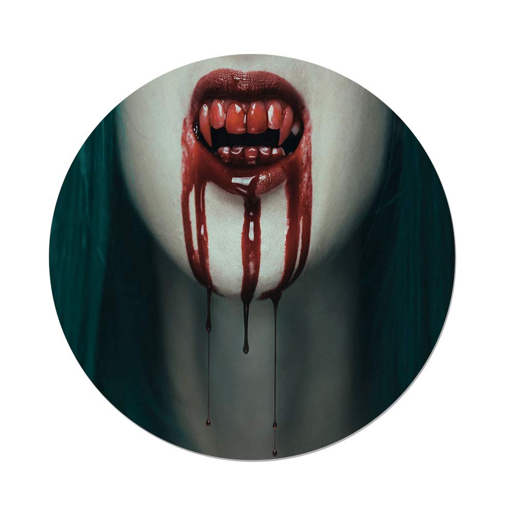 Polyester Round Tablecloth,Vampire,Realistic Scary Vampire Woman Blood on Her Teeth Close Up Horrifying Image Decorative,Red Teal Eggshell,Dining Room Kitchen Picnic Table Cloth Cover,for Outdoor Ind