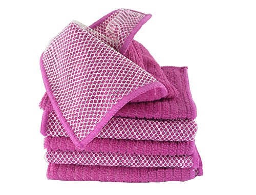Minel Ribbed Microfiber Cleaning Dish Cloths With Scour Side For Scrubbing, Perfect For Cleaning, 12X12 6 Pack - Magenta