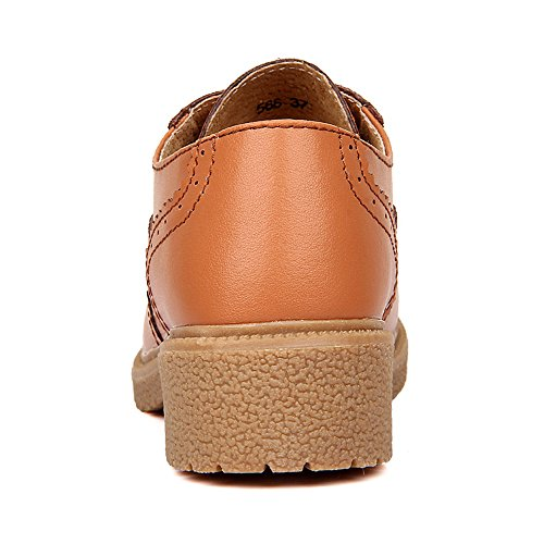 Loafers Brown Oxford Flat Up Shelaidon Womens Lace Brogues Vintage CqtB18w