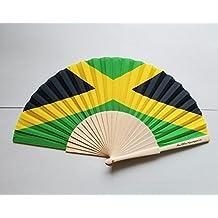 Jamaica Flag Fabric Folding Hand Fan with Bamboo Handle