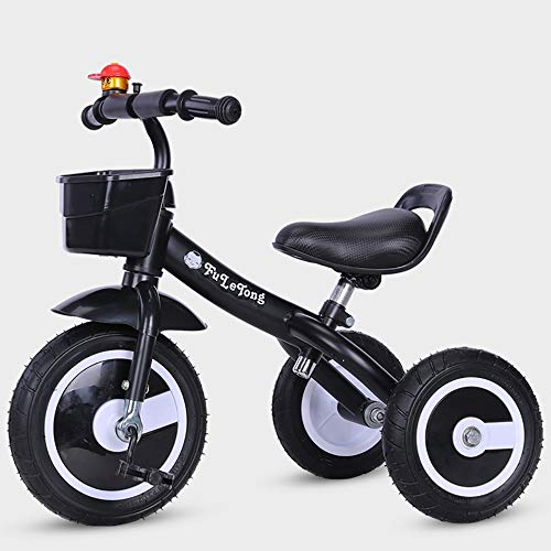 Trike for 3 Year Old Kids Tricycle Children Pedal Smart Design 3 Wheeler PU seat,Toddlers Children Ride Pedal Trike Bike Metal Frame, Black