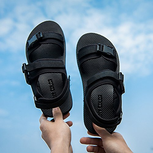 Sandals MAZHONG Summer Men's Casual Comfortable Beach Shoes Student Young Men's (Color : Black-EU39/UK6/CN39) Black-eu39/Uk6/Cn39 ku7uH
