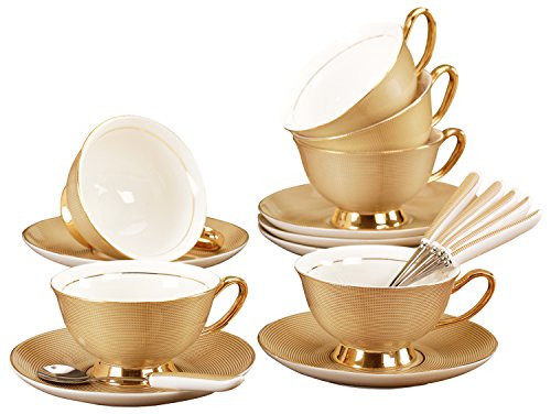 Jusalpha Fine China Tea Cup and Saucer Coffee Cup Set with Spoon FD-TCS09 (Set of - Cups & Saucers Dishwasher Safe