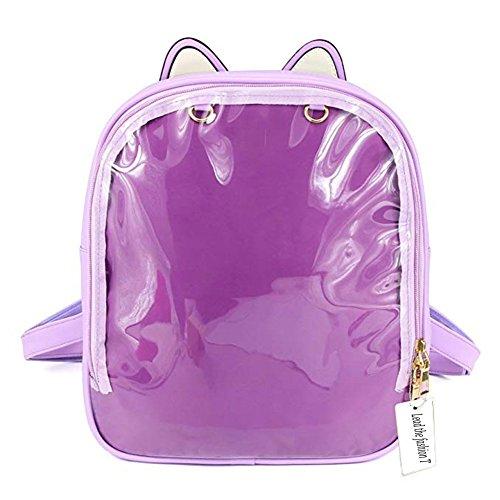 LTFT Women Leather Backpack Cute Knapsack Satchel Chic Candy Color Transparent Beach School Bag (Purple) ()