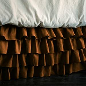 """Luxurious Living 500 Thread Count 100% Egyptian Cotton Solid Chocolate Short Queen Multi Ruffle Bed Skirt with 29"""" Drop Length by HotHaat"""