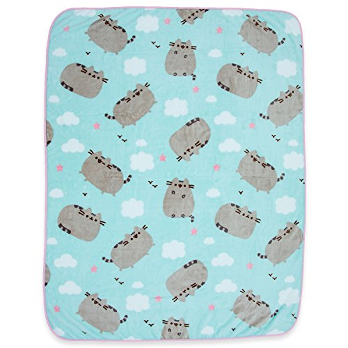 Pusheen The Cat Soft Fleece Blanket - Officially licensed Pusheen Colorful Throw Featuring Pusheen, Clouds & Hearts! -