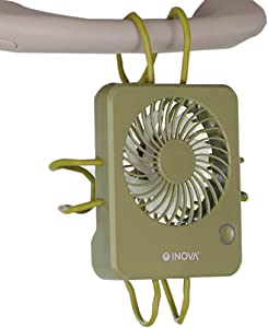 INOVA Personal Fan Rechargeable with Flexible Wired Arms, Desktop + Hanging + Winding Mount + Handheld Powerful Small Fan, 3 Speeds Quiet Motor for Home Outdoor Travel Stroller - Kahki