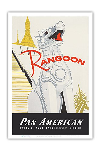 Rangoon (Yangon) Burma - Pan American World Airways - Shwedagon Pagoda - Vintage Airline Travel Poster by A. Amspoker c.1955 - Master Art Print - 12in x 18in ()