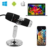 Digital Microscope,Z-Roya 0 to 1600x Magnification Endoscope, 2MP 8 LEDUSB 2.0& Micro Digital Microscope, Mini Camera with Stand, Compatible with Mac Window 7 8 10 Android Linux