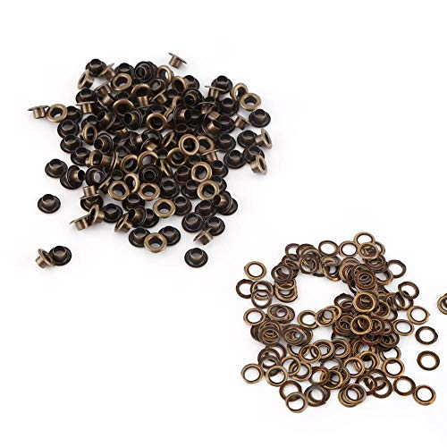 - Antique Brass Eyelet Grommets, Leathercraft Accessory Fasteners Kit With Washers for Repairs Decoration(4mm)