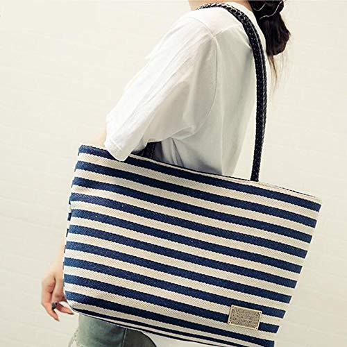 Main À Fourre Stripe tout Coton Blue D'été I Hobo Bandoulière Femmes Sac Shopper Balbala Mini Toile Filles 0zqIwI