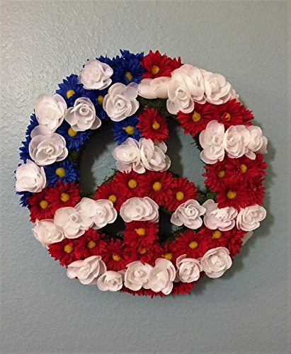 America Flowered Peace Sign Wreath or America Wall Art