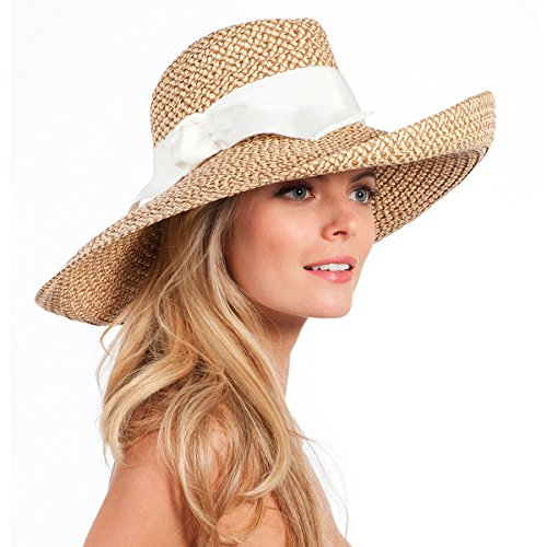 Eric Javits Luxury Fashion Designer Women's Headwear Hat - Socialite - Peanut/White by Eric Javits