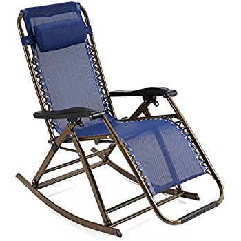 Zero Gravity Rocking Chair With Headrest Folding Reclining Chair For  Garden, Lawn, Camping,