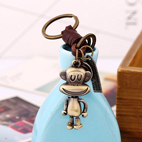 Bronze antique Happy Singe Keychain avec cuir v/éritable Luxe Vintage Design mignon cadeau pour elle Id/éal Porte-cl/és cadeau pour petite amie Cadeau personnalis/é pour femme Funny Charm pendentif