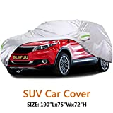 BLIIFUU Car Cover - SUV Protection cover Breathable Outdoor Indoor for all Season all weather Waterproof Windproof Dustproof Scratch Resistant Outdoor UV Protection Fits SUV Car (190''Lx75''Wx72''H)