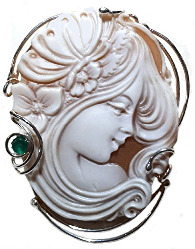 (Brooch Pendant Enhancer Sterling Silver Master Carved, Sardonyx Shell Emerald Accent Italian)